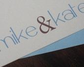 Mike/Kate Personalized Wedding Thank You cards/Stationary Set  Custom