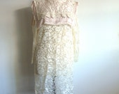 Vintage Cream Lace and Light Salmon Satin Dress from Pudding