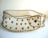 1980 Vintage Clear Wide Plastic and Gold Plated Studs Belt from Pudding
