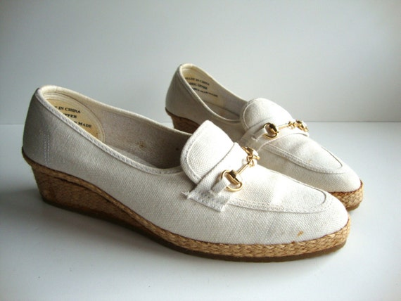 Vintage White Off and Straw Platform Heels Espadrille Loafers from Pudding