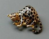 Vintage Figural Leopard Brooch Signed Parklane