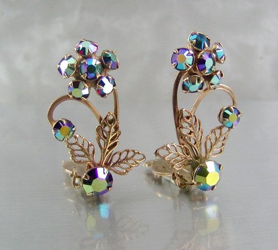 Vintage AB Rhinestone Floral Earrings New Old Stock
