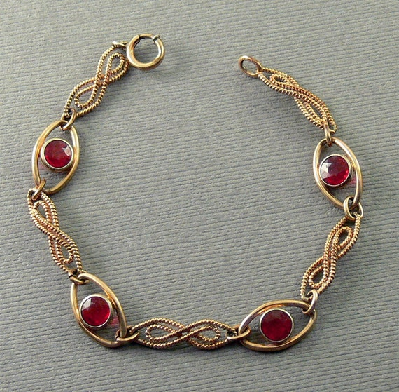 Vintage Gold Filled Link Bracelet Garnet Red Stones