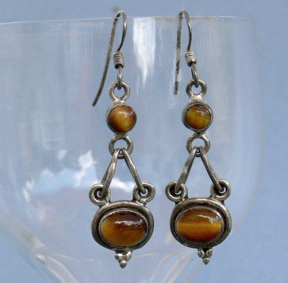 Vintage Earrings Sterling Silver & Tigers Eye Modernist Style