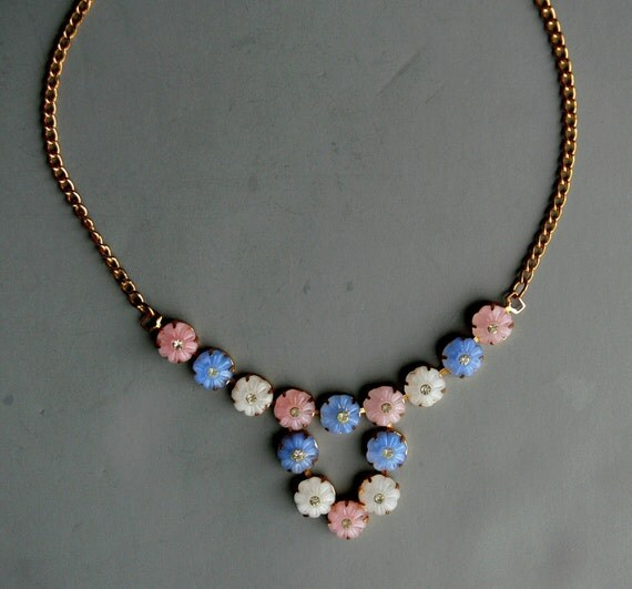 Vintage Necklace Molded Glass and Rhinestone Made in Czechoslovakia