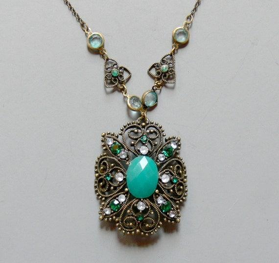 Vintage Lavelier Necklace Art Deco Style Necklace