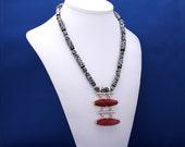 Vintage Red Coral Pendant and Carved Black Bone Necklace, Red and Black Necklace, Bone Necklace, Goth Necklace, Unique Necklace, Red Coral