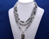Black Rutilated Quartz, Multistrand Necklace, Sophisticated Necklace, Professional Womans Jewelry, Bold Statement, Unique Womans Necklace