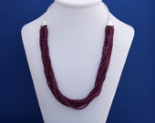 SALE-Multi-strand Rhodolite Garnet Necklace January Birthstone 2nd Anniversary Beadwork Statement-Beauty and Grace