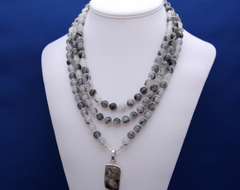 Black Rutilated Quartz, Multistrand Necklace, Sophisticated Necklace, Professional Womans Jewelry, Bold Statement, Unique Womans Necklace