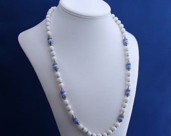 White Agate and Blue Cat's Eye Necklace, June Birthstone, 12th Anniversary, Unique Strand Necklace, Understated Nacklace, Professional Woman