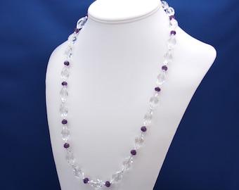 Quartz Crystal and Amethyst Necklace, February Birthstone, 6th Anniversary, 15th Anniversary,Crystal Quartz Necklace, Elegant Quartz Jewelry