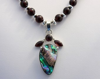 Garnet and Abalone Pendant, Garnet Necklace, January Birthstone, 2nd Anniversary, Unique Necklace, Statement Necklace, Shell Necklace