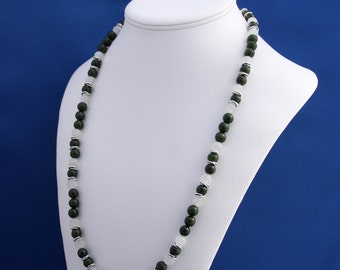 Green Jade and Moonstone Strand Necklace, 12th Anniversary, June Birthstone, August Birthstone, Professional Womans Necklace, Earth Jewelry