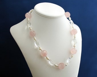 Pink Quartz and Crystal Quartz Necklace, Quartz Necklace, Pink Necklace, Feminine Necklace, 1st Anniversary, 2nd Anniversay 15th Anniversary