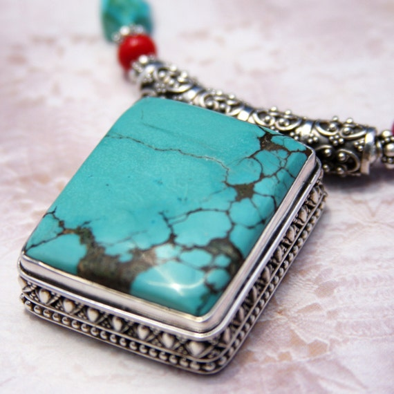 RESERVED-Sonoran Sunset-(Arizona Turquoise, Coral and Bali Silver)