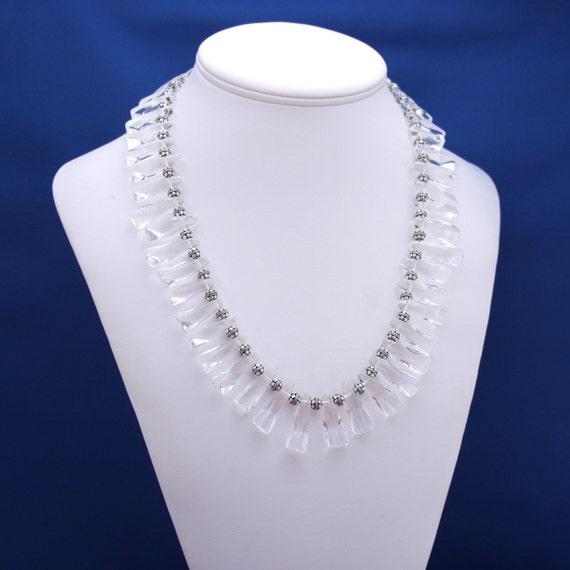 Quartz Necklace, Crystal Necklace, Quartz Crystal Necklace, Bib Necklace, Collar Necklace, Statement Necklace, 15th Anniversary, Party Wear