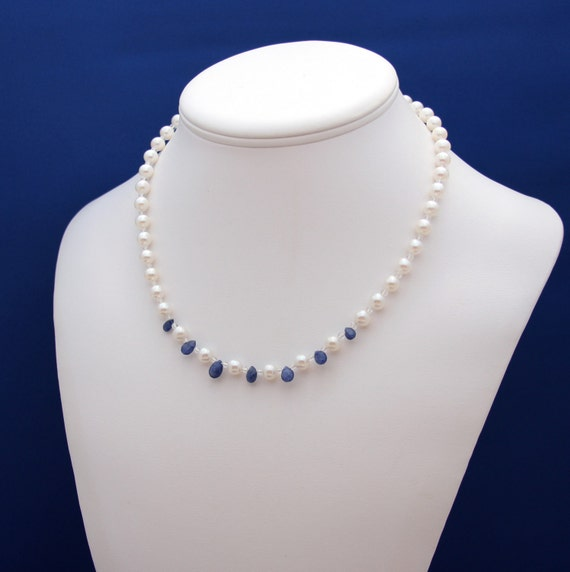 SALE-Pearl and Sapphire Strand Necklace June Birthstone September Birthstone 3rd 30th and 45th Anniversary Beadwork-Mirage