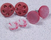 pink peppercorn scandi retro button post earrings