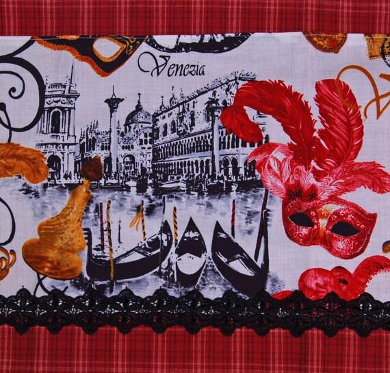 venice venezia masquarade lace red plaid tea towel