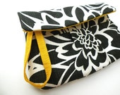 Black, White and yellow all over     Clutch or  Wristlet