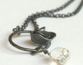 Galadriel - Oxidized Rose Sterling Silver and Clear Topaz Necklace