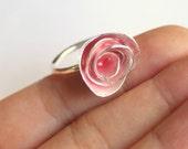 Summer Pink Enamel Metalwork Artisan Unique Designer Rose Ring