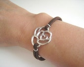 Leather Lace Rose Bracelet