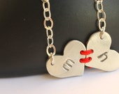 Personalized Monogrammed Jewelry Visible Commitment - Heart to Heart Sterling Necklace Handstamped Metalwork Jewelry