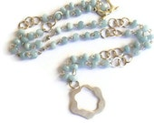 Aquamarine Lariat with Abstract Rose Pendant March Birthstone