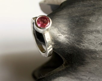 Pink Tourmaline Hammered Band Sterling Silver Ring Ready To Ship