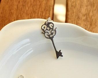 Tiny Victorian Style Skeleton Key Necklace