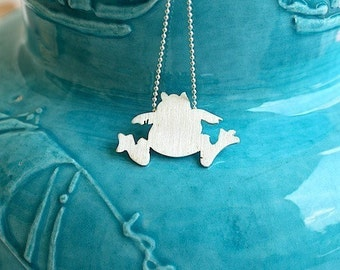 Tiny Frog Silhouette Sterling Silver Necklace