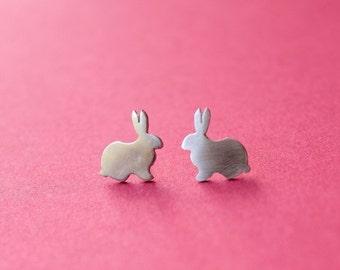 Little Cute Bunny Easter Silhouette Stud Earrings Sterling Silver Handmade