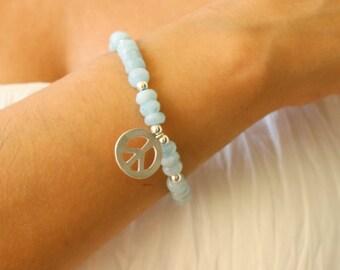 Peace Sign Amazonite Charm Arm Party Bracelet