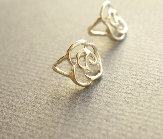 Lace Rose Sterling Silver Handmade Earrings