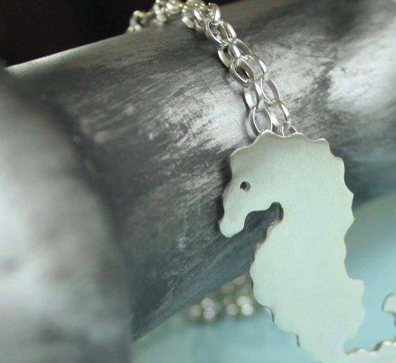Seahorse Necklace with Long Chain