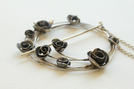 Winter Jewelry - Become Rose Garden Shawl Brooch - Pin  FREE SHIPPING