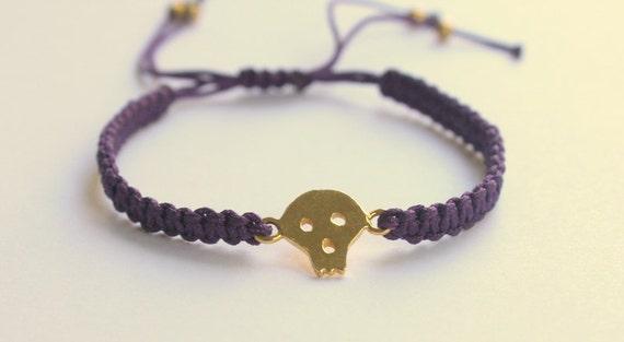 Last One piece... Skull Bracelet Gold Plated  Purple Macrame Knot