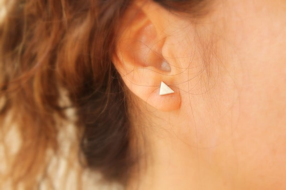 Simple Geometric Tiny Triangle Stud Earring Unisex Men or Women