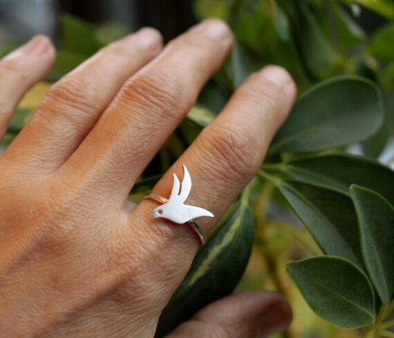 Flying Bird Sterling Silver Ring Hammered Band
