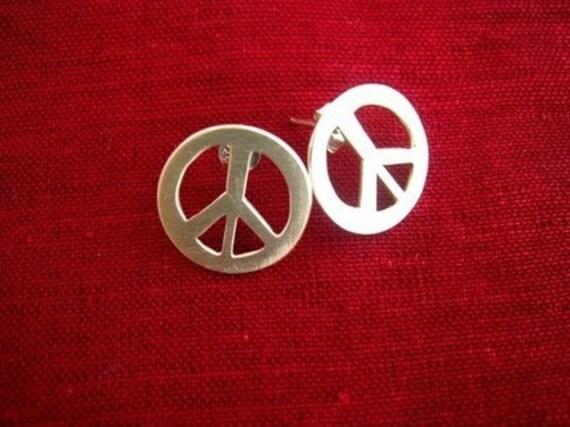 Peace Sign Stud Earrings