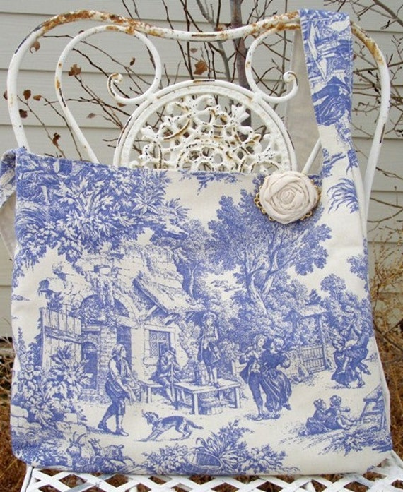 Sweet Blue Toile Hobo Handbag With Muslin Rosette Pin