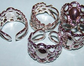 10 New Neo Victorian Filigree Finger Ring Base Blank Steampunk Watch Cabachon