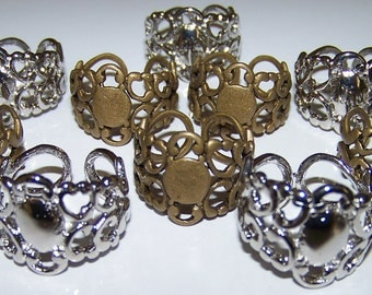 10 Ring Base Blanks Neo Victorian Filigree 5 Brass and 5 Platinum Color Plated Finger Steampunk Watch Cabachon