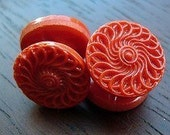 VINTAGE GLASS BUTTONS,  LACY RED