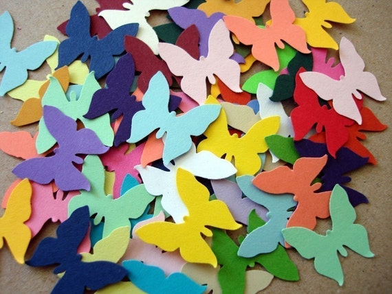 50 colorful butterfly cardstock punch outs