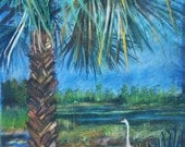 Cranes Under Palm Tree  Limited Edition Print
