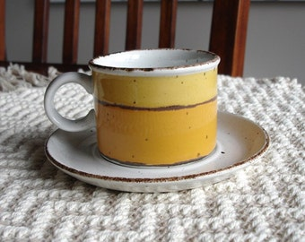 Vintage Stoneware Cup and Saucer Set of Four