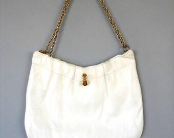 White, Kid-Leather, Purse